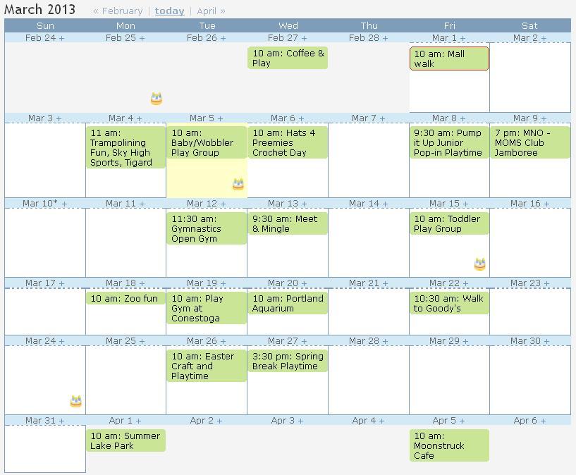 Sample Calendar | Sample Calendar Moms Club Of Beaverton South Or